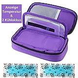 Temperaturanzeige Insulin kühltasche Diabetiker Tasche Medikamenten Kühltasche für Diabetikerzubehör mit Kühlakkus (Lila)