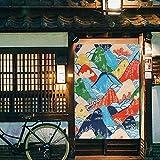 Jeteven 120x85cm Türvorhang Thermovorhang Verdunkelungsvorhang Raumtrenner Japan Noren Japanische Vorhänge hängendbar gasdurchlässig, für Balkon Keller Terrassentür Wohnzimmer Schlafzimmer Küche Bunt