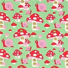 Tissu bio vert avec des champignons, escragots, par Copenhagen Print Factory