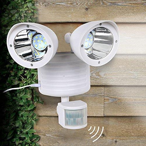 Solar-Sicherheitsleuchte 22 LEDs, Doppelkopf-Strahler, Solar-Bewegungsmelder, verstellbar, wasserdicht, Solarleuchten für Hof, Garten, Wege, Carports, Türstrasse, weiß