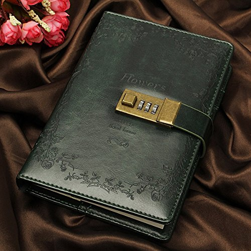 Baban libreta Cuaderno de contraseñas,Cuaderno retro verde de cuero,un gran regalo para los niños, escritor etc...