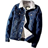 zhbotaolang Men Trendy Warm Denim Jacket - Casual Plus Velvet Thick Cowboy Coats