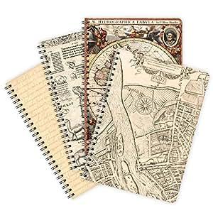 Etmamu 422 vintage lot de 4 carnets à spirale format a5 60 pages lignées