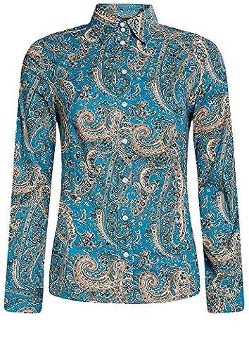 oodji Collection Damen Druckhemd mit Paisley-Muster, Türkis, DE 36 / EU 38 / S