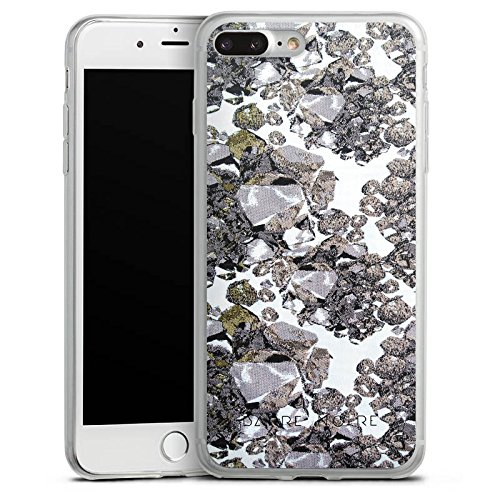 Apple iPhone 8 Plus Slim Case Silikon Hülle Schutzhülle Edelsteine Muster Steine Silikon Slim Case transparent
