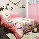 MeMoreCool Home Textile Cute Cartoon Dinosaur Design 100% Cotton Blue 3 Pieces Bedding Set Comfortable Quilt Covers for Boys and Girls Soft Bed Sheets Twin Size
