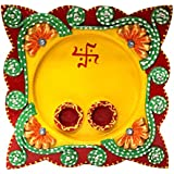 Diwali Gifts | Diwali Home Decor Gifts | Diwali Decoration For Home | Wooden Paper Mache Work Multicolor Pooja Thali With Dia (8 X 4 X 8 IN) - B075BNP6M3