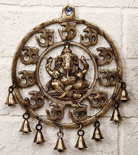 Two Moustaches Om Ganesha Brass Wall Hanging With Bells Showpiece | Home Decor | | Wall Decor |