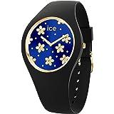 Ice-Watch - Ice Flower Precious Deep Blue - Montre Noire pour Femme avec Bracelet en Silicone - 017579 (Medium)
