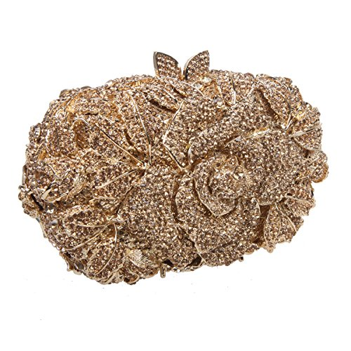 Bonjanvye Shining Studded Rhinestone Rose Flower Clutch Purses and Handbags for Ladies Champagne Smoky Yellow