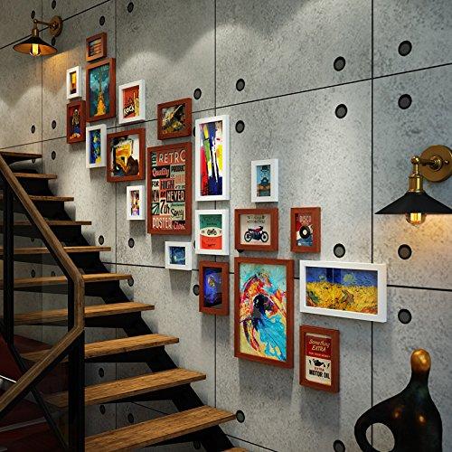 Bilderrahmen*Industrial Air Foto antike Treppe Wandmalereien kreative Wand Foto frame Combo ,0154 weiss Kombination von Hu - Antike Wandmalereien