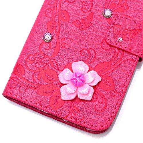 SZHTSWU Hülle für iPhone 7 Plus, Magnetverschluss 3D Intarsien Bling Kristall Glitzer Schmetterling Blume Strasssteine Strass Diamant mit Lanyard Strap Design PU Leder Tasche Weiche Silikon Schutzhüll Rose