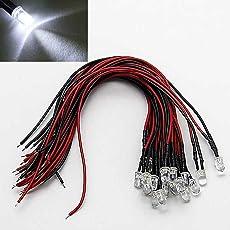 LAOMAO 20x 5mm Leds mit 20cm Kabel 12 Volt DC/ Led fertig verkabelt (weiß)