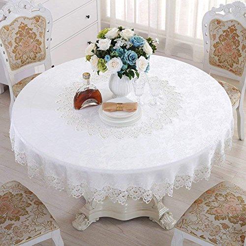 Nur 5118 Nordic Spitze Floral Tischdecke Stoff Runde Tischdecke Tabelle Handtuch Kissen Stuhl Set-B mit Einem Durchmesser von 120 cm (47 Zoll) (Spitze Florales Kissen)