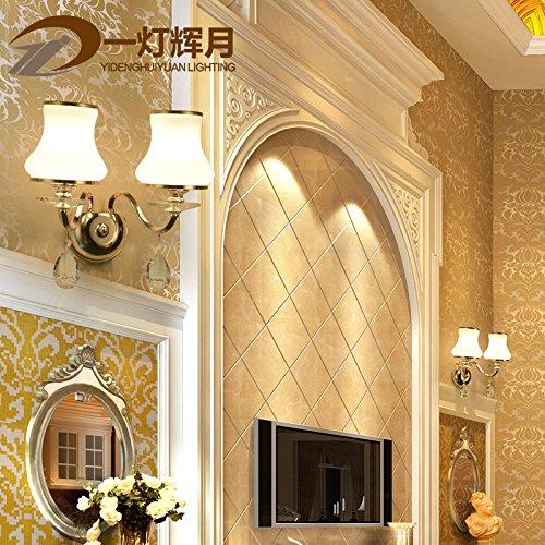 BESPD Europa S Kim Jane minimalistischen modernen Crystal Wandleuchte für Wohnzimmer Restaurant Flur Treppe Schlafzimmer Bett Lampen 8814 Dual Head mit LED-Lampen Crystal Kerzenhalter Wandleuchte