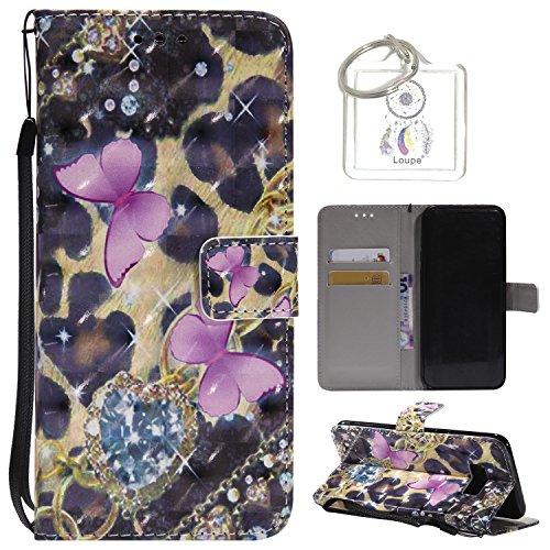 """Preisvergleich Produktbild für Galaxy S8 Plus 6.2"""" Hülle, Retro 3D Muster PU Leder Hülle Wallet Case Folio Schutzhülle in mit Standfunktion Karteneinschub und Etui Flip Case Schutzhüllen +Schlüsselanhänger (P) (3)"""