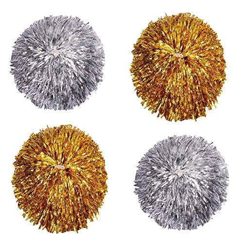Set von 4 Pure Farbe Cheerleading Pom Poms Schöne Cheerleading Kit, Gold + Silber