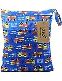 iZiv(TM) Bebé Reutilizable Impermeabilizan Mojado y Seco Bolsa de Pañales del Bebé Bolsa 2 Cremallera Impresión en Bolsa