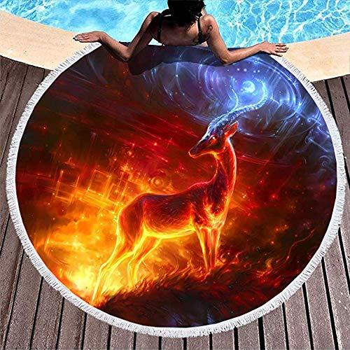 Leo-Shop Rentier Power Animal Artwork PrintRound Strandtuch mit Quasten Urlaub Runde Fringe Beach Throw Pool faulenzen Handtuch
