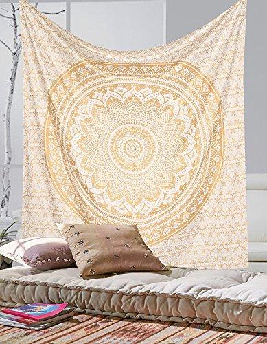 Tapiz para decoración del hogar, mandala de color dorado, estilo hippy, de la marca Craftozone., Double 240x220 cms
