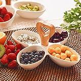Creative Divisione Ceramica piatto di frutta famiglia Dadi spuntini piatto dolce frutta piatto Box multi dischi piatti laterali,13.5 * 23.5,Heart-Shaped