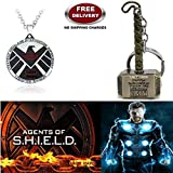 (2 Pcs AVENGER SET) - AGENTS OF S.H.I.E.L.D IMPORTED PENDANT & THOR HAMMER (GOLD) IMPORTED KEYCHAIN. LADY HAWK DESIGNER SERIES 2018. ❤ ALSO CHECK FOR LATEST ARRIVALS - NOW ON SALE IN AMAZON - RINGS - KEYCHAINS - NECKLACE - BRACELET & T SHIR