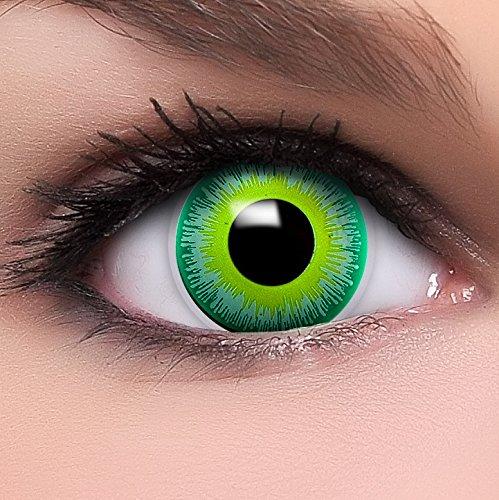 Kostüm Alien Kontaktlinsen - Farbige Kontaktlinsen Alien in grün + Kombilösung + Behälter - Top Linsenfinder Markenqualität, 1Paar (2 Stück)