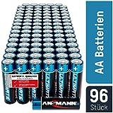 ANSMANN Batterien AA 96 Stück - Alkaline Mignon Batterie ideal für Lichterkette, LED Taschenlampe, Xbox One Controller, Spielzeug, Fernbedienung, Radio, Nachtlicht - umweltschonende Verpackung