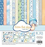 Pack (15) carta Scrapbooking (30,5x 30,5cm–From the Sky–Baby Boy