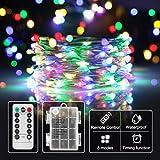 lichterkette mit batterie bunt,Timer-Fernbedienung und IP65 Wasserdicht für Party, Garten,Hochzeit[10M]