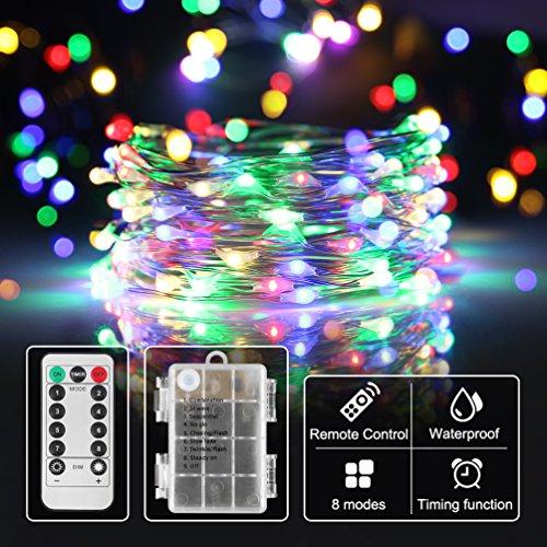 Sicher Batterie-Lichterkette für Kinderzimmer,Innen-romantisch-deko,Timer-Fernbedienung mit 8 modi,10m-Bunt[Ultraleicht/Wasserdicht/Energieklasse A+++++]