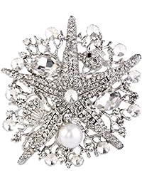 Flyonce Broches Finas Mujer Serie de Animal - Estrella de Mar con Perla Elegante para Regalo