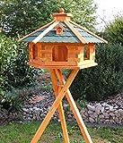 holzdekoladen MAXI Vogelhaus Vogelhäuser mit und ohne Ständer 67 x 45 cm behandelt Typ 5.1 (mit Ständer, Grün)