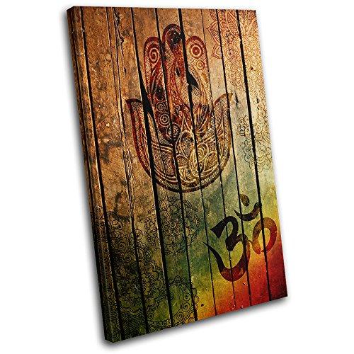 Bold Bloc Design - Hamsa Mandala Om Yoga Peace Vintage 75x50cm SINGLE Leinwand Kunstdruck Box gerahmte Bild Wand hangen - handgefertigt In Grossbritannien - gerahmt und bereit zum Aufhangen - Canvas Art Print