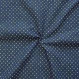 STOFFKONTOR Stretch Denim Jeans Stoff Punkte Klein Meterware Indigo-Blau