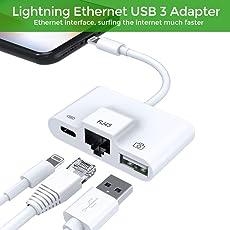 Lightning zu RJ45 Ethernet LAN Kabel Netzwerkadapter, iPhone Ethernet Adapter, Blitz zu USB Kamera Reader Adapter, Lade- und Daten Sync OTG Adapter für iPhone / iPad, benötigt iOS 10.0 oder höher (Weiß)