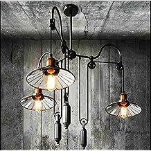 QWER Pendant Deckenleuchte Lampe Industrial Air Retro American Style Wohnzimmer Landhausstil Gabelstapler Kronleuchter Silber Spiegel
