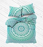 Exclusive Green ombre mandala Duvet Cover With Pillowcases By Labhanshi, Indian Reversible Duvet...
