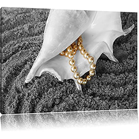 Shell con collana di perle sulla sabbia nero / bianco, dimensioni: 120x80 su tela, XXL enormi immagini completamente Pagina con la barella, stampa d'arte sul murale con telaio, più economico di pittura o un dipinto a olio, non un manifesto o un