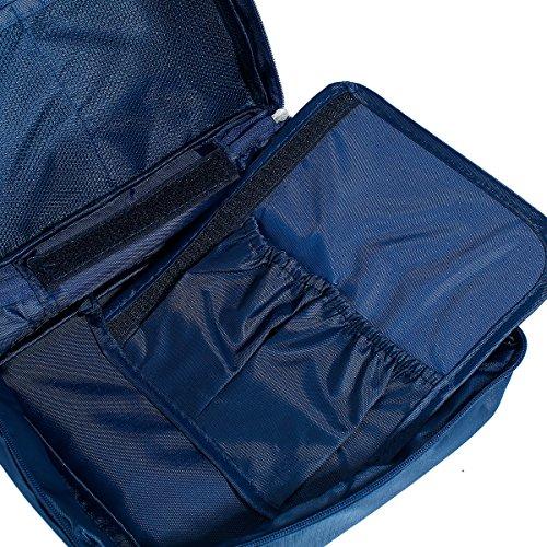 Fyore Dark Red Fabric Travel Makeup Organizer Waschtasche Arrangement Blöcke Reißverschluss 21x16cm Dunkelblau
