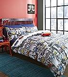 Volkswagen Campervan Single Quilt Duvet Cover and Pillowcase Bedding Bed Set Official Vw City Camper Van, Multicolour
