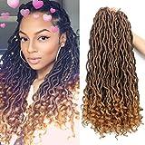 Doris Direct (6Packs) 18inch Curly Faux Locs Soft Hair Deep Faux Locs Twist Braids Goddess Locs Crochet Braiding Hair Braids Mambo Hair Extension 24Roots/Pack-Brown
