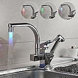 Auralum® Zeitgenössig LED Brause Herausziehbar Küchenarmatur Mischbatterie für Küche Spüle Waschbecken mit 2 Wasserauslauf