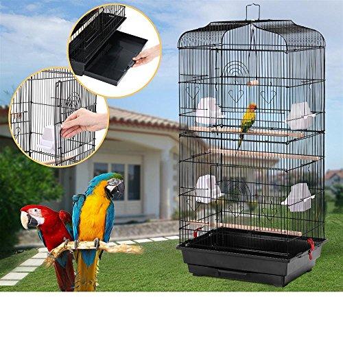 Yahee Vogelbauer Vogelvoliere Vogelkäfig Vogelhaus mit 4 Sitzstangen 46 x 36 x 92cm