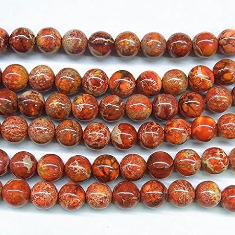 thetastejewelry 6mm Rund Orange Sea Sediment Jasper Perlen 38,1cm 38cm Halskette Heilung Schmuck herstellen–4421