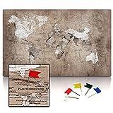 CanvasArts Weltkarte Vintage - Leinwand PINNWAND auf Keilrahmen - deutsch 14.1451 (100 x 60 cm, einteilig)