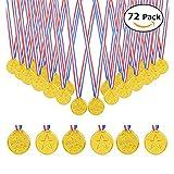 BigLion 72 Pièces Médailles d'or en plastique Olympiques du gagnant Prix Jeux de jouets Accessoires Cadeaux pour la Journée des Sports des Enfants, Concurrence, Partie Jeux Jouets, Récompenses, Concours de thème Olympique, Party Bag Fillers