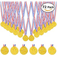 BigLion Niños medallas ganadoras Winner Medals Olímpico medallas de plástico de Oro Premios DIY Regalos para Niños Fiesta Deportiva Competición Juegos Recompensa Party Bag Fillers (72Pcs)
