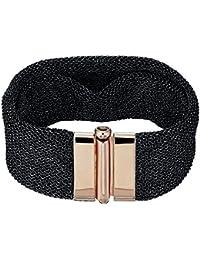 Adami   Martucci larghezza nero e oro rosa placcato argento maglia bracciale 8028472e0b07