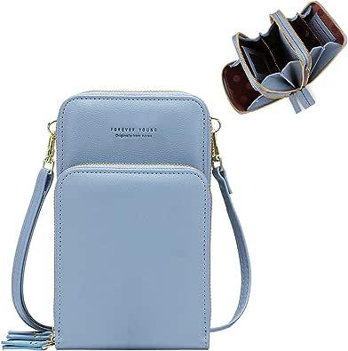 Klein Handy Umhängetasche Damen Touchscreen Geldbörse Geldbeutel Crossbody kleine Handytasche Handtasche Brieftasche Zum Umhängen mit Kartenfächer Schultergurt